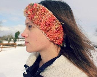 handknit, handspun art-yarn head band