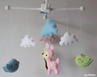 Baby Crib Mobile ,baby animals-Lovely Birds -Wool Felt Hanging Mobile Nursery Birds,Deers-Kids Playroom decor