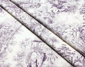 Fabric pure cotton ecru Indian jungle lilac 280 cm wide elephant Bengal Tiger