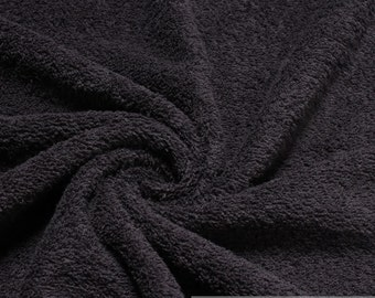 Fabric pure cotton terry cloth black towelling toweling