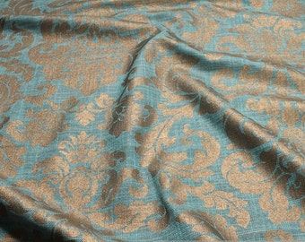 Fabric rayon cotton petrol ornament brass upholstery cushion