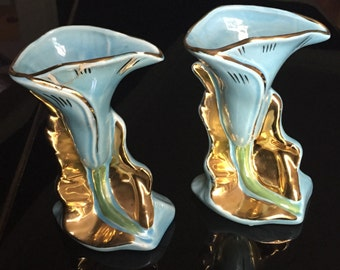 SALE *-*-* Pair of Vintage Calla Lily Vases *-*-* SALE