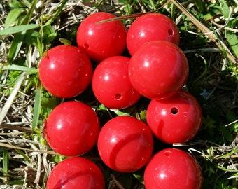 10 Round 20MM Red Acrylic Beads, Gumball Beads, Bubblegum Beads, Chunky Beads, Acrylic