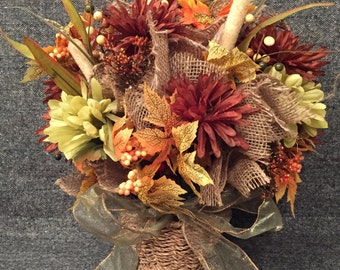 Full Fall Floral Arrangement in Small Basket