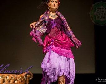 Three shades of Violet corset dress. Size Medium (Aust 12).