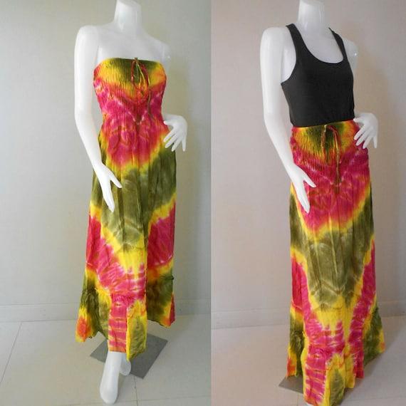 Gysy boho Maxi Long Sundress Tie Dye Cotton Casual Summer Smock Dress (TD 80)