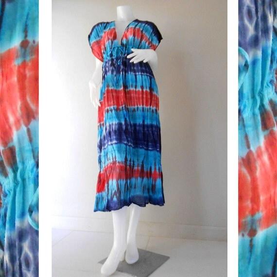 Multi-Color Hippie Gypsy 100 % Tie Dye Cotton Long Maxi Kimono Dress S-L (TD 322)