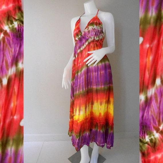 Hippie Gypsy Tie Dye Cotton Long Summer Dress, Halter Back Smock Dress, Maxi Dress (DMS 362)