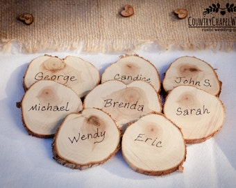 25 Wood Slice Place Settings ~ Wedding Table Place Settings ~ Rustic Wedding Decor ~ Spring Wedding