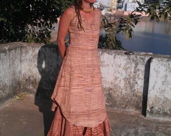 Khadi dress, Summer dress, Cotton dress, Hippie dress, tribal dress, handwoven Cotton, tight-long Dress, Product of Nature, handmade