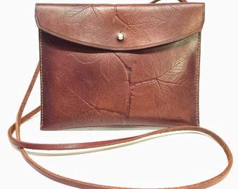 Blackberry Leather Shoulder Bag in Brown by Bill Cleaver