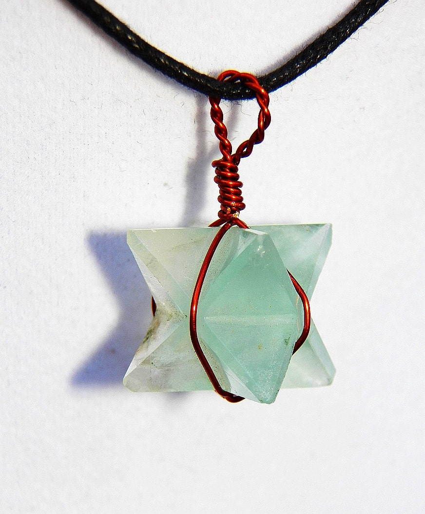 green fluorite merkaba pendant with by amazoncrystals
