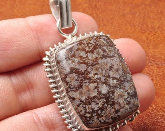 Natural Brown Snowflake Obsidian silver plated pendant (#J1225)