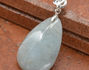 Natural Aquamarine sterling silver  pendant (#J1233)
