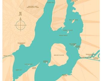 Balsam Lake, Ontario Lake Map Print