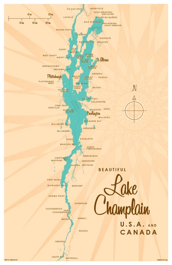 Lake Champlain Map Print