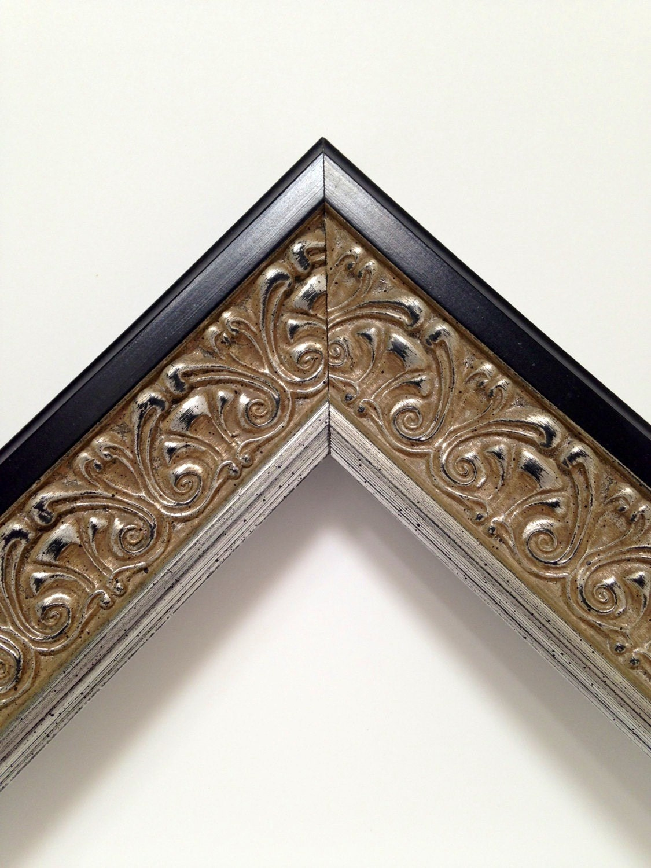 silver black ornate picture frame 3x5 4x6 5x7 8x10. Black Bedroom Furniture Sets. Home Design Ideas