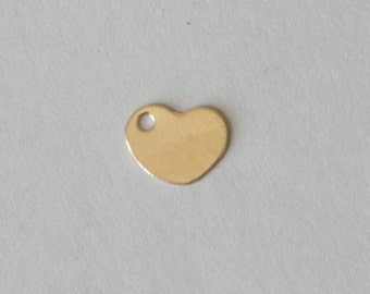 Gold Filled Tag, Blank Tag, 20 gauge, Gold Heart, Tag Charms, Heart Pendant, 8.5x6.6 mm, Fast Shipping from USA