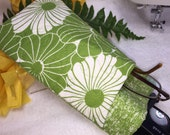 Quilted Double Eyeglass Case, Double Sunglass Pouch, Protective Padded Center Divider, Slip Style, Spring Green, Big Flowers, Modern Design