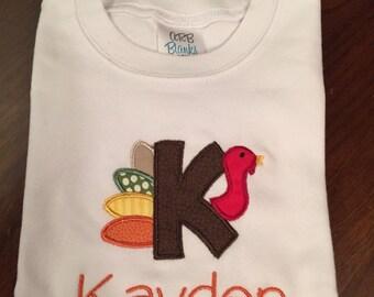 Turkey applique embroidered tshirt
