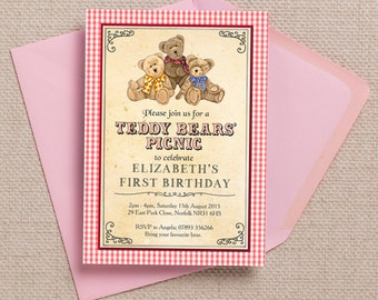 Teddy Bears Picnic Red Gingam Kids Party Invitation Cards