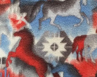 Anti-Pill Fleece Fabric Southwest Horses for Dog Bed, Travel Bed, Crate Bed, or Fleece Dog Jacket, Coat, Robe