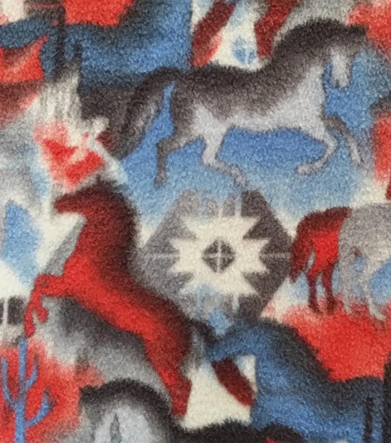 Anti Pill Fleece Fabric Southwest Horses For Dog Bed Travel