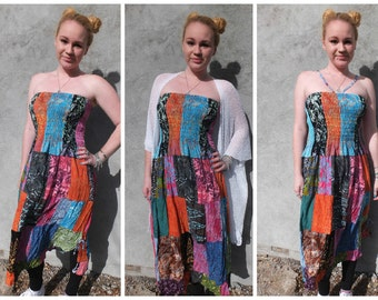 Ladies Patchwork Aztec Bandeau Dress Sundress Funky Hippy Boho 8 10 12