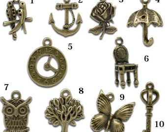 Charms for your Midori traveler's Notebook, bronze-colored Pendants, different sizes