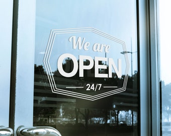 We Are Open Store Hours Window Decal - Custom Store Front - Hipster - Modern