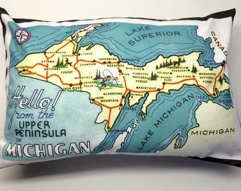 Upper Peninsula of Michigan Pillow made from Vintage Postcard Image