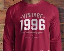 19th Birthday, 1996 Birthday, Long Sleeve, T-shirt. Born In 1996, 19th Birthday Present, 19th Birthday Gift. Vintage Age, 19 Years Old!