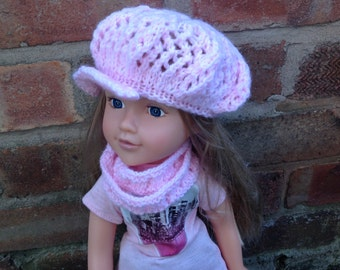 Dolls Clothes Knitted Dolls Hat and Cowl Set in Pink to fit 18 in doll such as American Girl doll , Design a Friend or Similar