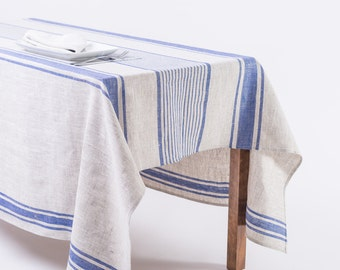 Linen Tablecloth, blue linen, Natural grey tablecloth with blue stripes, provance table cover summer cover, striped linen