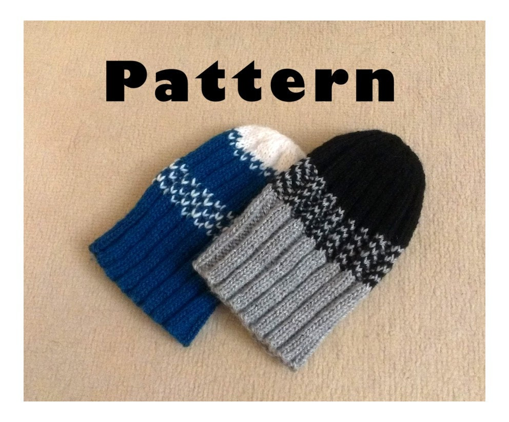 Stripped ribbed seamless beanie hat Knitting by EvaHandmadeCrafts