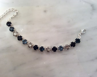 The Blues Crystal Bracelet,  Blue Crystal Bracelet, Blue Bracelet, Blue Tennis Bracelet, Crystal Tennis Bracelet