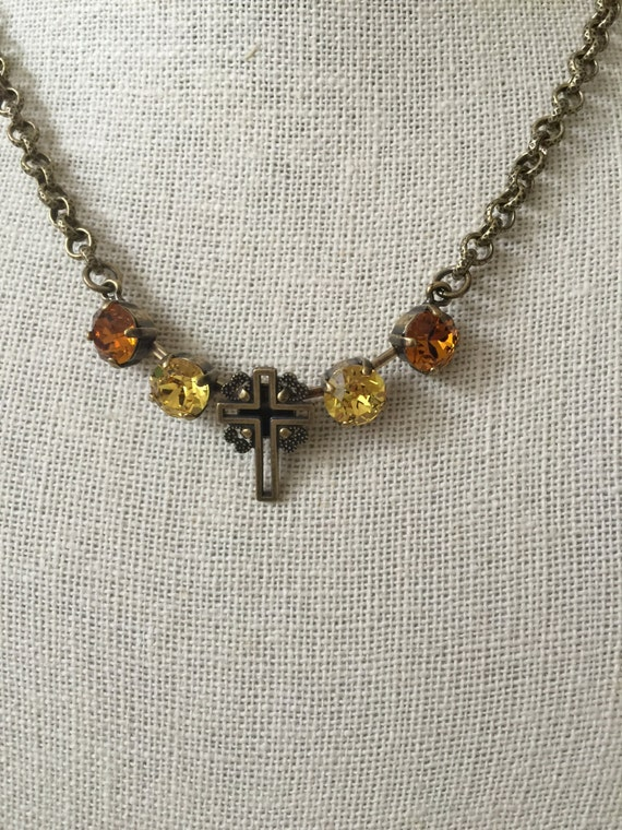 Filigree Cross Brass Oxide Necklace with Topaz & Light Topaz Crystals