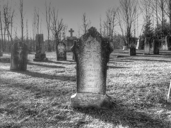 Black and White Cemetery Print Cemetery Photography