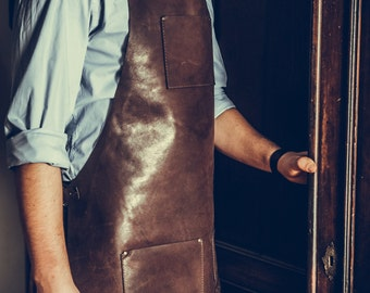 Genuine leather apron, custom made, personalized, laser engraved for men