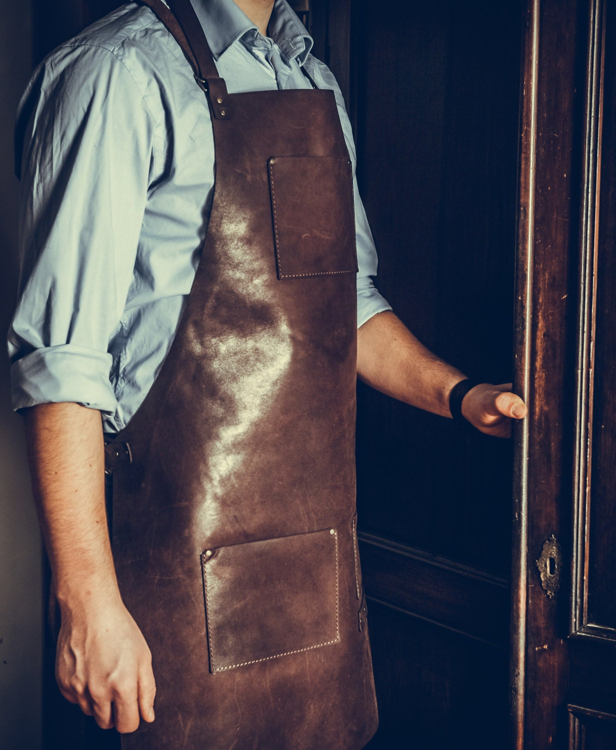 Plain white apron nz - Genuine Leather Apron Custom Made Personalized Laser Engraved For Men