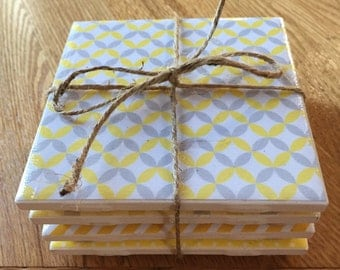 Set of 4 Yellow & Grey Coasters