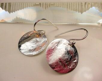 Hanging earrings, sterling silver, silverplated discs, pendant earrings, hill tribe silver dangle earrings
