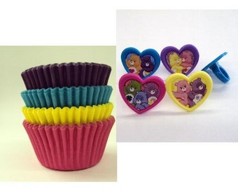 Care Bears Rings with 12 assorted cupcake papers