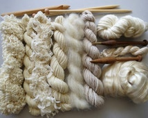Yarn pack for knitting, crochet, weaving or felting. Wool, silk and kid mohair - Natural.