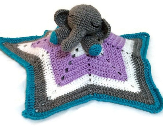 Baby Elephant Star Comfort/Snuggle/Lovey Blanket - Crocheted, Handmade, Made-to-Order - Completely Customizable Blanket
