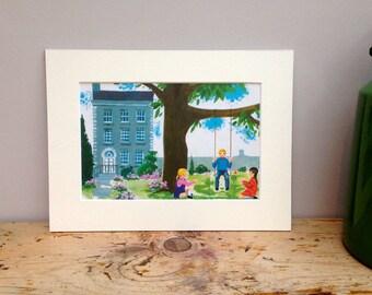 Vintage Print Of A Garden - Original 1969 Illustration - Ideal for children or baby's bedroom, nursery or playroom.