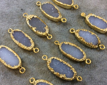 Premium Beautiful Gold Plated White Druzy Oval Connector, 10mm x 20mm