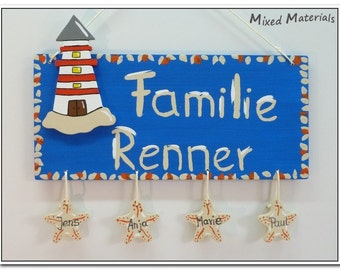 "Families - door plate ""Lighthouse + Starfish"""