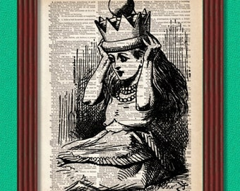 BUY 2 GET 1 FREE Alice Is Crowned Queen Dictionary Art Print through the Looking Glass Chess Decor Wall Lewis Carroll