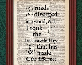 Two Roads Diverged in a Wood Dictionary Art Print Robert Frost Poem Poetry The Road Not Taken Quote Words Decor Deco Wall Book